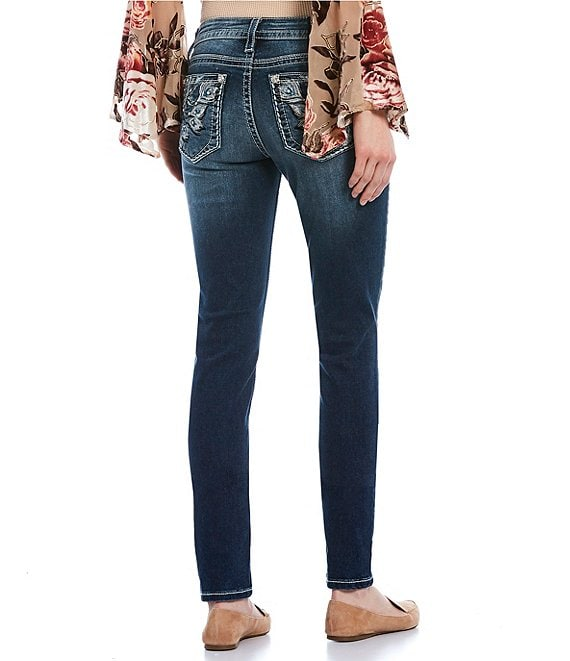Color:Dark Blue - Image 1 - Dream Love Embellished Dreamcatcher Pocket Skinny Jeans