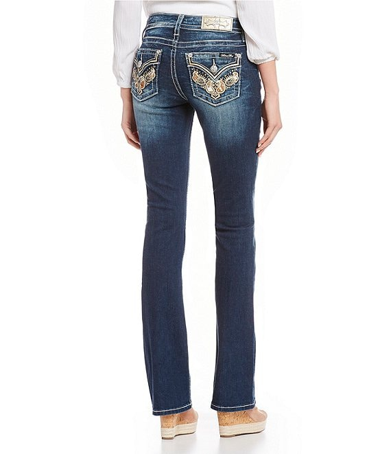 Miss Me Embellished Cow Print Flap Pocket Bootcut Jeans