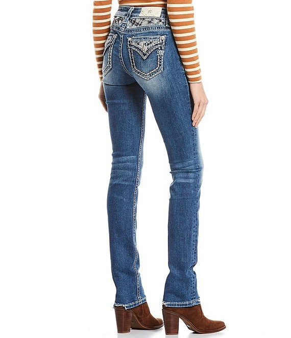Color:Medium Blue - Image 1 - Heart Beater Plaid Studded Pocket Mid Rise Straight Jeans