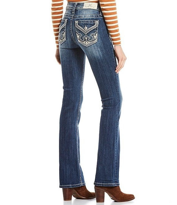 Color:Dark Blue - Image 1 - Lighten Up Abstract Flap Pocket Mid Rise Bootcut Jeans