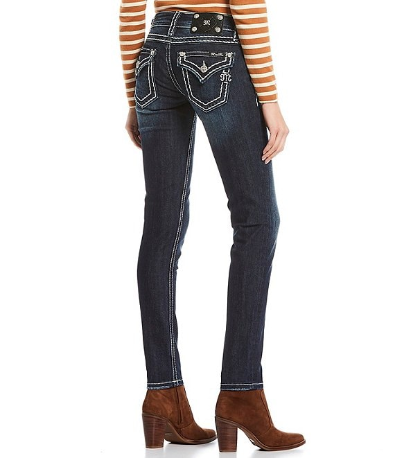 Color:Dark Blue - Image 1 - Loose Saddle Border Stitch Flap Pocket Mid Rise Skinny Jeans