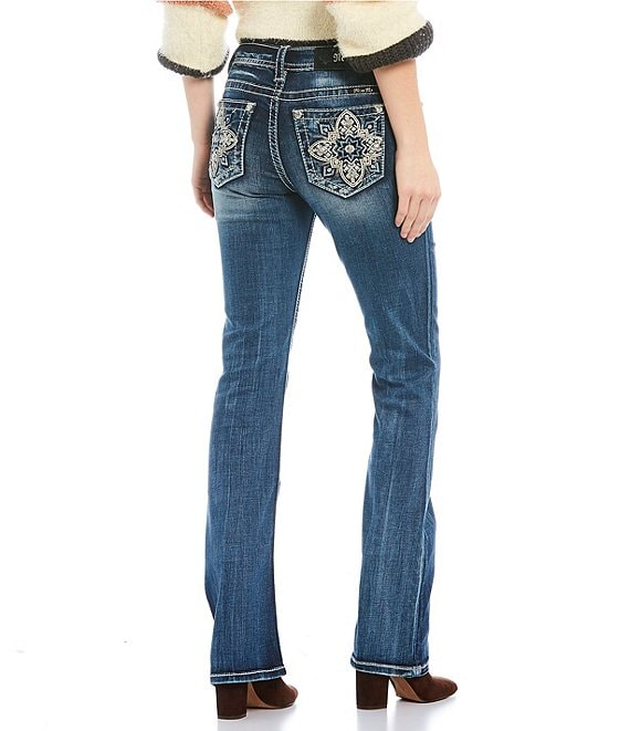 Color:Dark Blue - Image 1 - Moroccan Cross Pocket Bootcut Jeans