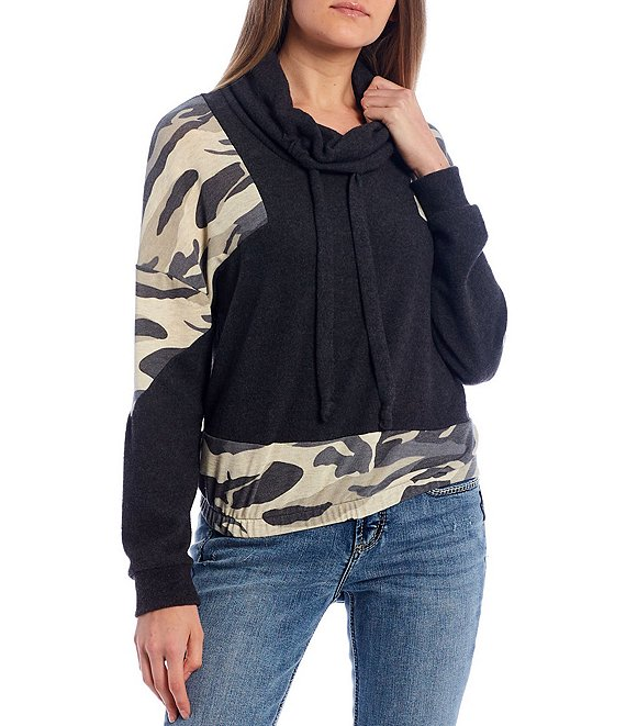 Color:Camo/Charcoal - Image 1 - Camo Print Colorblock Sleeve Cowl Neck Pullover