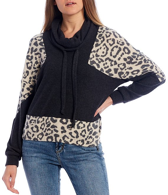 Color:Animal/Charcoal - Image 1 - Cheetah Print Colorblock Sleeve Cowl Neck Pullover