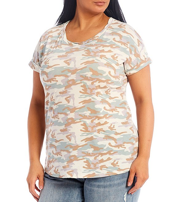 Color:Camo Print - Image 1 - Plus Size Camo Print Twisted Scoop Neck Short Sleeve Knit Top