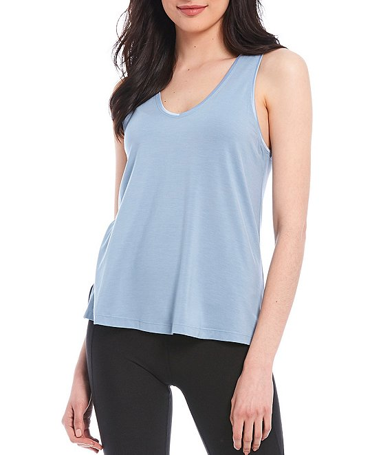 Color:Ashley Blue - Image 1 - Racerback Swing Tank