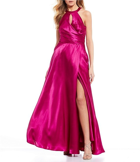 Color:Cerise - Image 1 - Keyhole Neckline High Side Slit Bow Back Long Dress