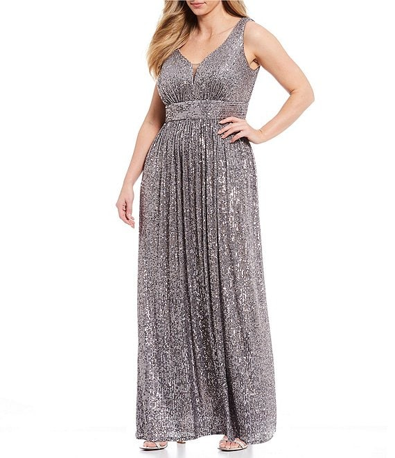 Color:Pewter - Image 1 - Plus Sleeveless V-Neck Sequin Shirred Long Dress