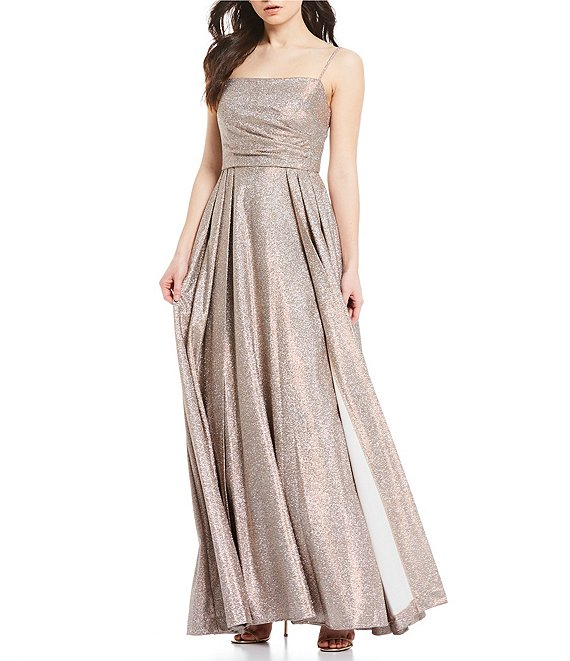 Color:Gold - Image 1 - Spaghetti Strap Pleated Shimmer Ballgown