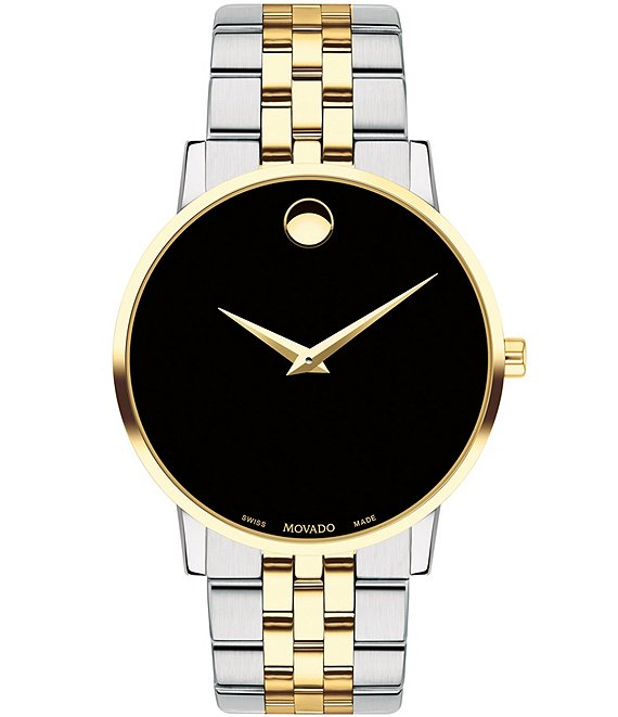 Color:Two-Tone - Image 1 - Black Dial Link Bracelet Museum Classic Watch