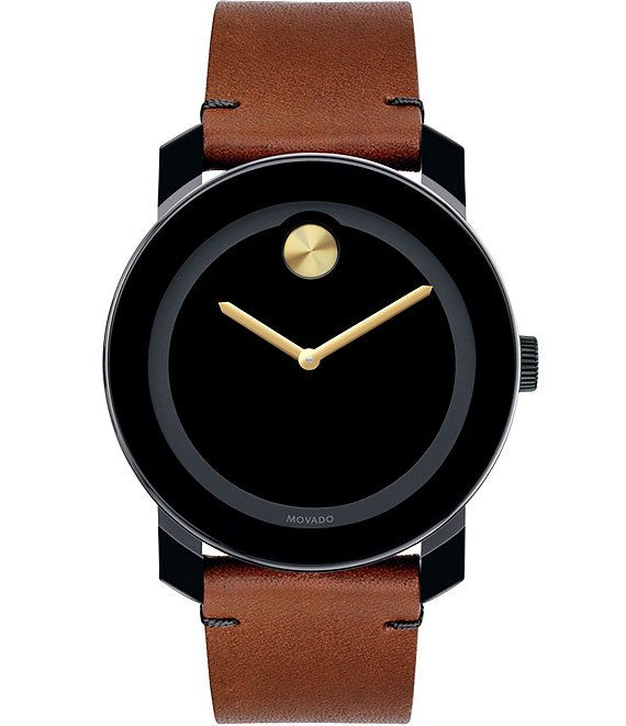 Color:Black - Image 1 - Bold Black & Brown Leather Analog Watch