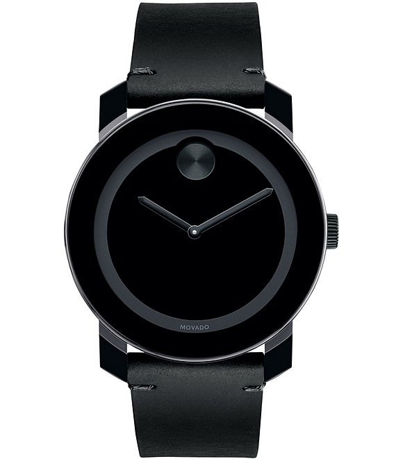 Movado Bold Men's Metals Rustic Black Leather Strap Watch