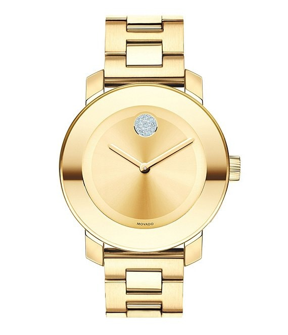 Color:Gold - Image 1 - Bold Swarovski Crystal Swiss Quartz Bracelet Watch