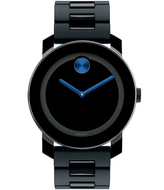 Movado Bold Large Black & Cobalt Blue Analog Bracelet Watch