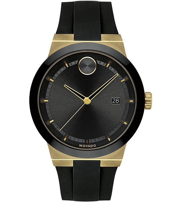 Color:Black - Image 1 - Bold Men's Black Gold Swiss Quartz Fusion Watch
