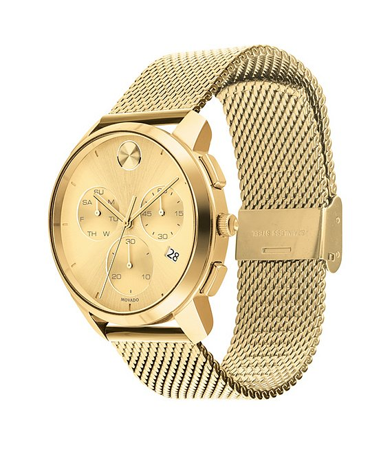 Color:Gold - Image 1 - Bold Men's Gold IP Mesh Watch