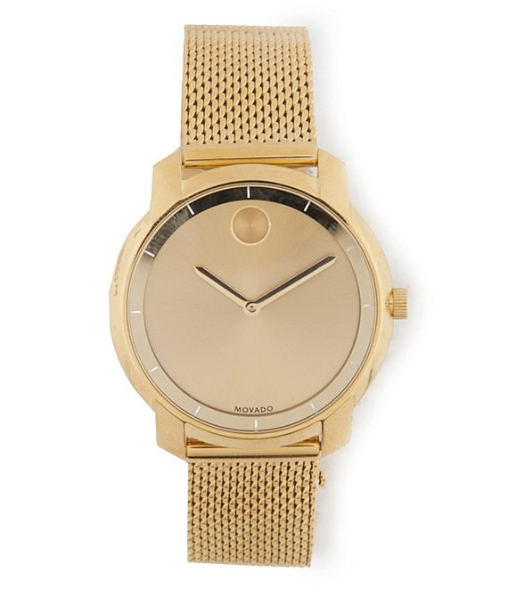 Movado Bold Mesh Yellow-Gold Plated Watch