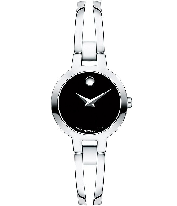Color:Silver - Image 1 - Double Bar Bangle Style Amorosa Watch