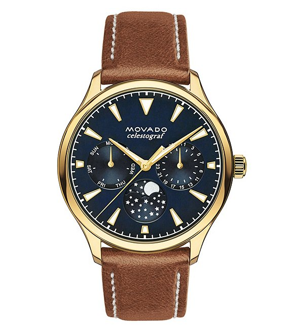 Movado Heritage Leather Cognac Strap Watch