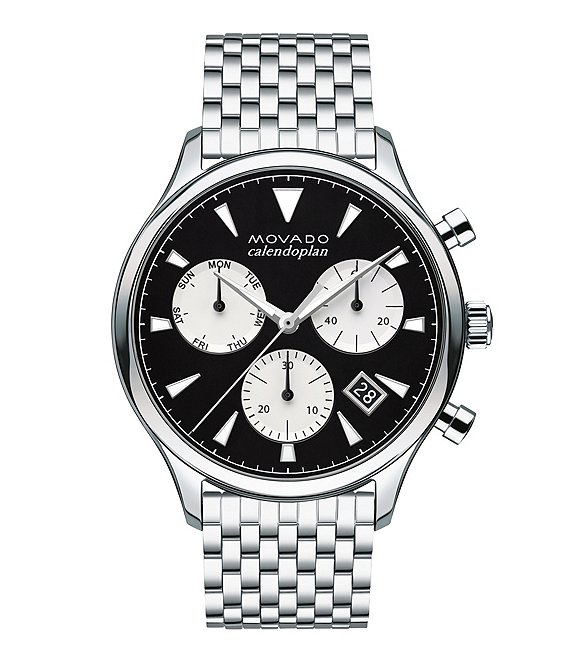 Color:Black - Image 1 - Heritage Silver-Toned Swiss Quartz Chronograph Watch