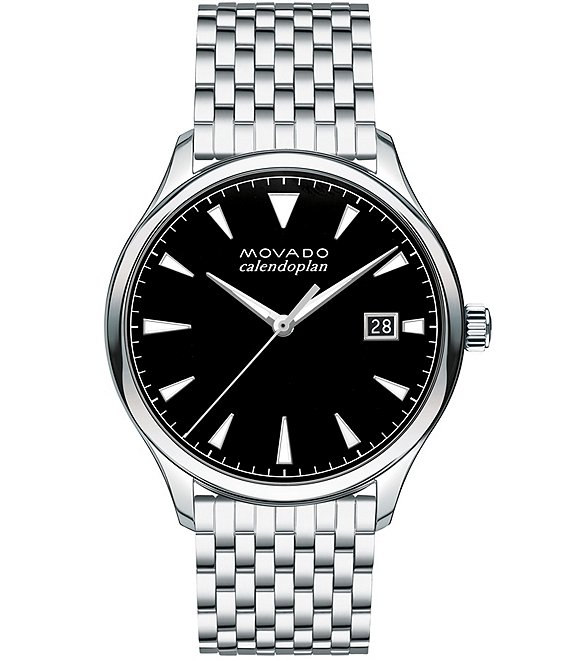 Color:Black - Image 1 - Heritage Stainless Steel Silver Brick-Link Watch