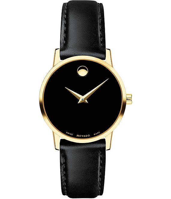 Color:Black - Image 1 - Museum Classic Black And Gold Calfskin Strap Watch