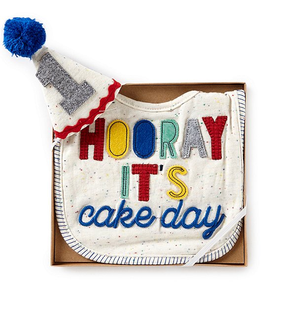 Mud Pie Baby Boys Hooray Birthday Bib Hat Set