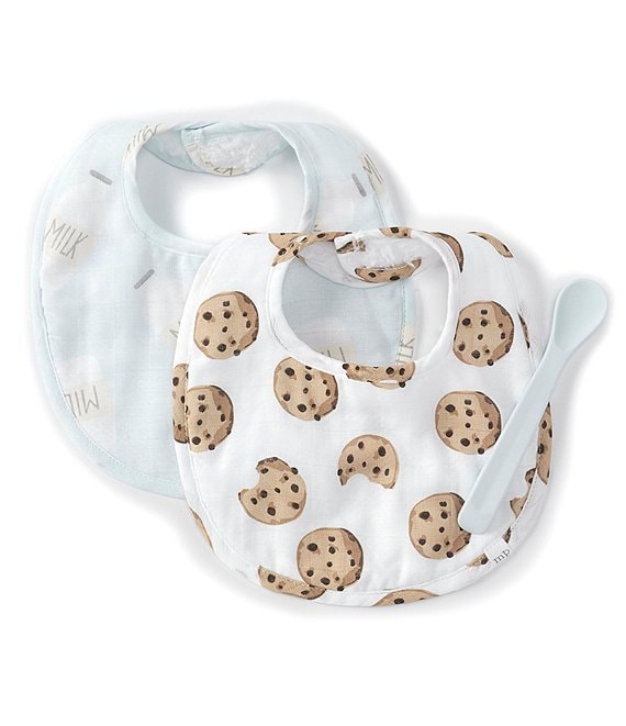 Mud Pie Baby Boys Milk Carton/Cookie Set Two-Pack Bibs & Spoon Set