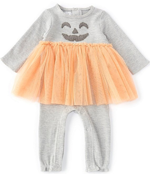 Color:Grey - Image 1 - Baby Girls 3-12 Months Long-Sleeve Halloween Jack-'O-Lantern Waffle-Knit/Tutu Coverall