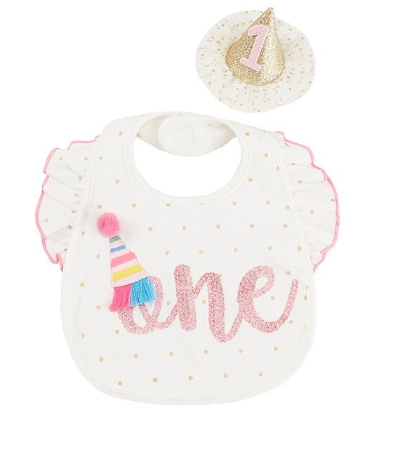 Mud Pie Baby Girls Cake Smashing 1st Birthday Bib & Felt Hat Set