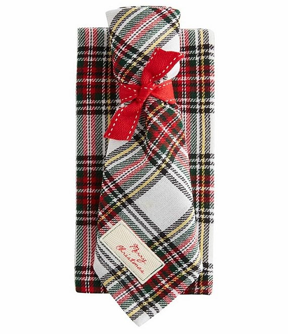 Mud Pie Holiday White Tartan Napkins, Set of 4