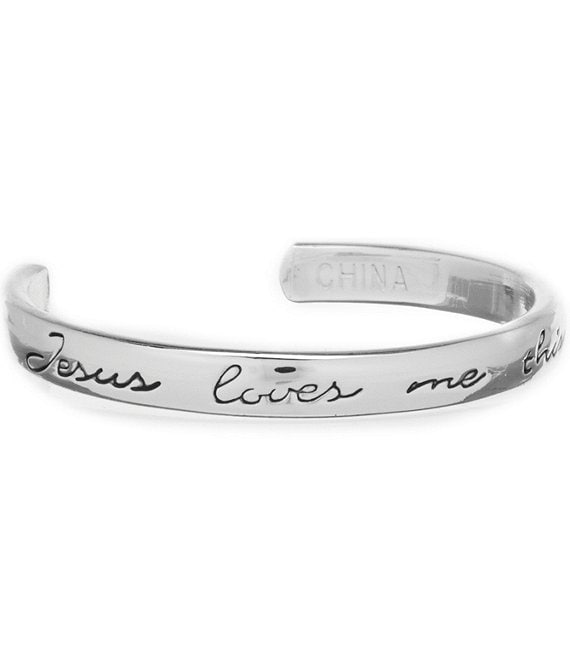 Mud Pie Jesus Loves Me This I Know Silverplated Cuff Bracelet