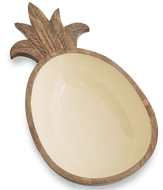 Mud Pie Pineapple Wood & Enamel Bowl