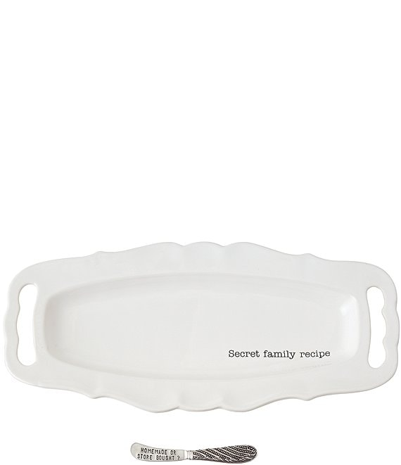 Mud Pie Secret Family Recipe Scalloped Ceramic Platter & Spreader Set