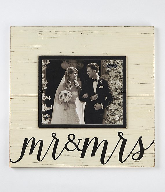 Color:White/Wood - Image 1 - Wedding Collection Mr. & Mrs. Deluxe Frame