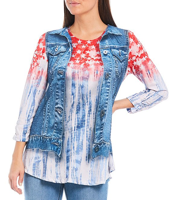 Color:Denim Print - Image 1 - Petite Size Americana Denim Print Textured Knit Bungee Sleeve Swing Top