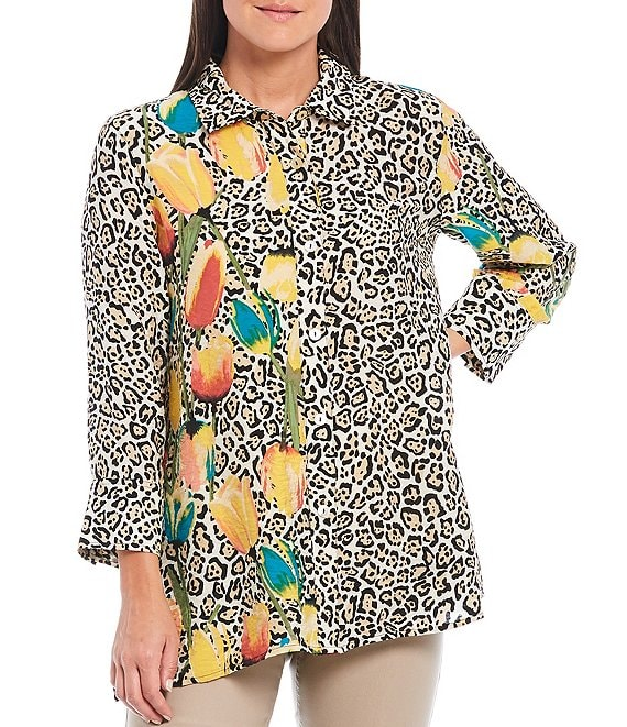 Color:Multi - Image 1 - Petite Size Tulip Placement Cheetah Print Crinkle Woven Button Front 3/4 Sleeve Button-Back Shirt