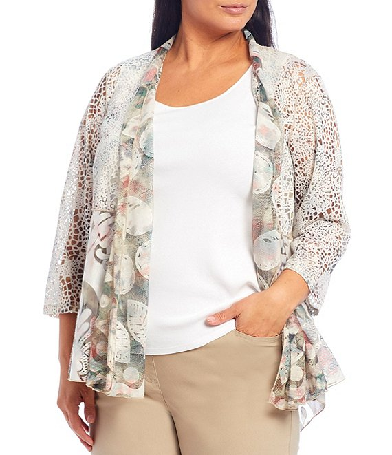 Color:Multi - Image 1 - Plus Size Burnout Multi Print Shawl Collar 3/4 Sleeve Hi-Low Open Front Jacket