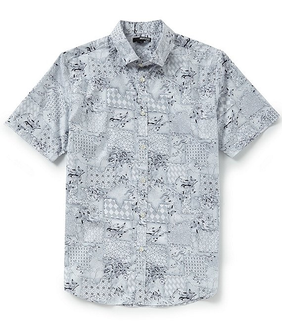 Murano Slim-Fit Patch Print Short-Sleeve Woven Shirt
