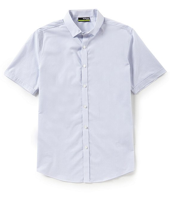 Murano Slim-Fit Plaid Dobby Performance Short-Sleeve Woven Shirt