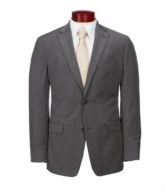 Color:Charcoal - Image 1 - Wardrobe Essentials Classic-Fit Suit Separates Twill Blazer