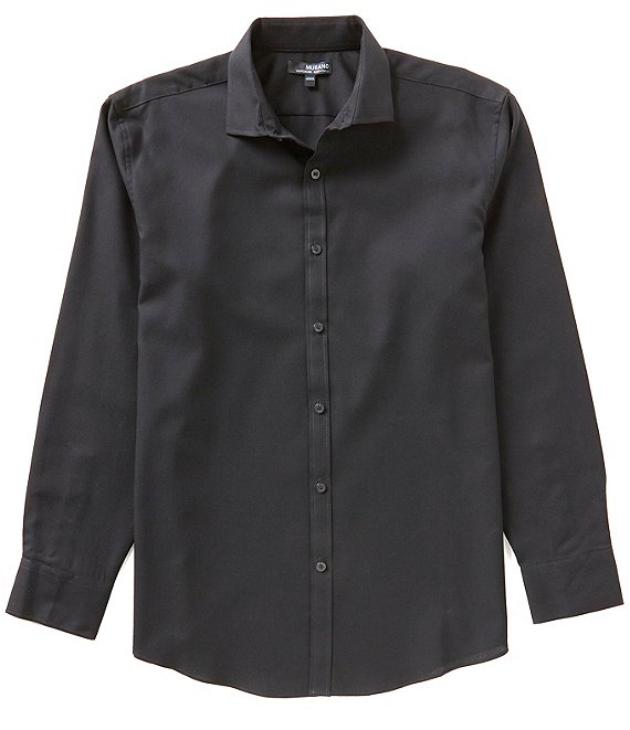 Color:Black - Image 1 - Wardrobe Essentials Ultimate Modern Comfort Stretch Long-Sleeve Spread-Collar Textured Sports