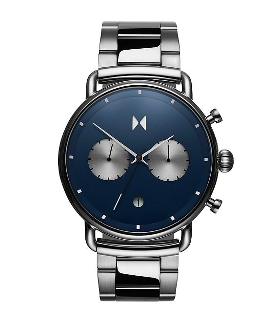 Color:Silver/Blue - Image 1 - Blacktop Astro Blue Stainless Steel Bracelet Watch