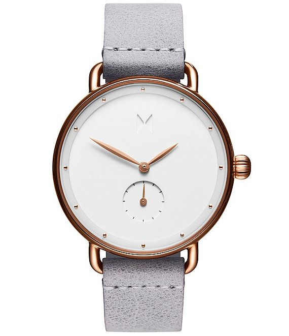 Color:Gray/White - Image 1 - Bloom Ghost Iris Grey Leather Strap Quartz Analog Watch