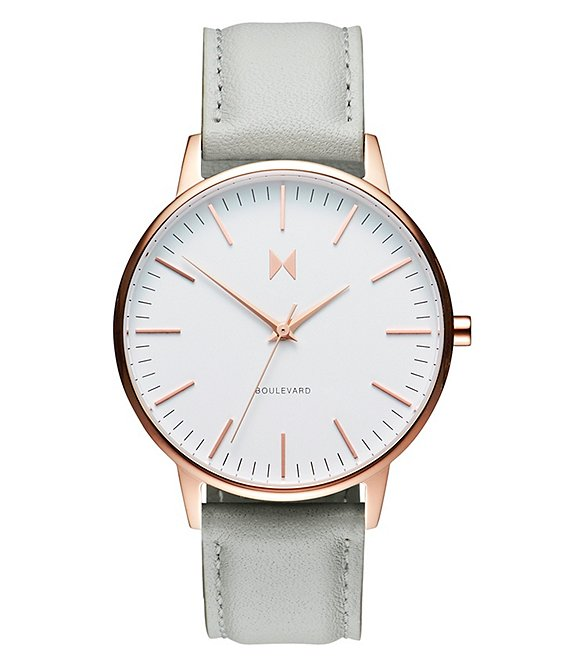 Color:Gray/White - Image 1 - Boulevard Collection Beverly Leather Strap Rose Gold Quartz Analog Watch