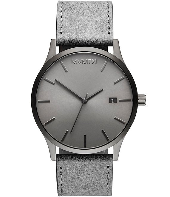Color:Grey - Image 1 - Classic Monochrome Gray Leather Strap Watch