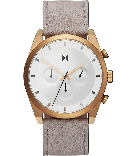 Color:Grey - Image 1 - Element Chrono Bronze Ore Grey Leather Watch