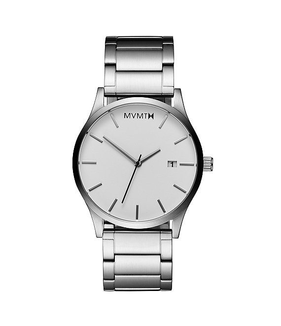 Color:Silver/White - Image 1 - Men's Classic White/Silver Quartz Analog Bracelet Watch