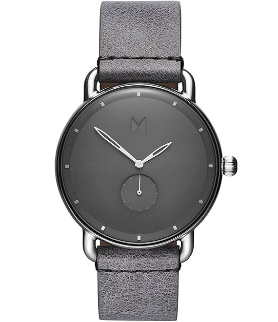 Color:Grey - Image 1 - Revolver Collection Gotham Grey Leather Watch