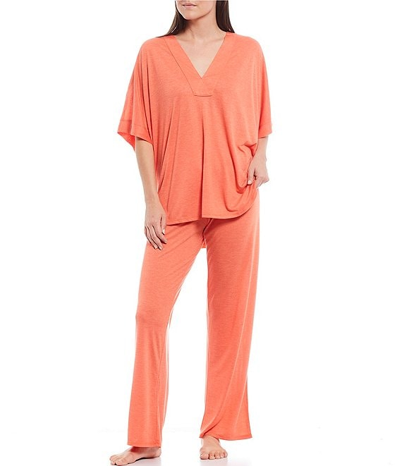 Color:Heather Tangerine - Image 1 - N by Natori Congo Jersey Pajamas